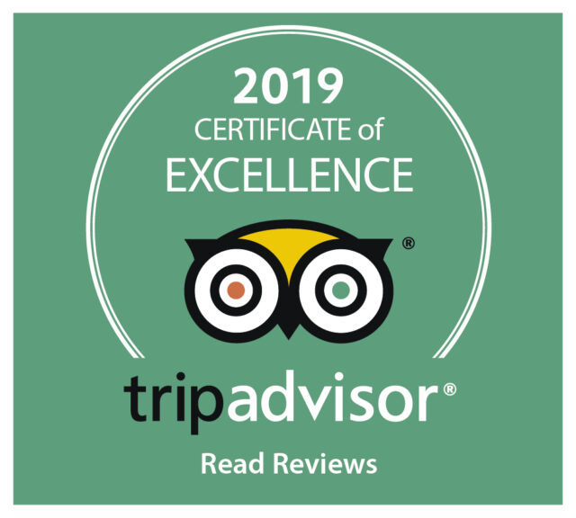 TripAdvisor 2019 Certifcate of Excellence